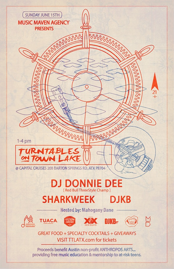 TURNTABLES ON TOWN LAKE - JUNE 15TH :: DJ DONNIE DEE + SHARKWEEK + DJ KB
